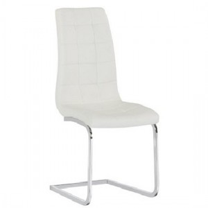 Enzo Faux Leather Dining Chair In White