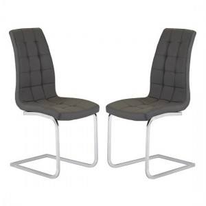 Enzo Grey Faux Leather Dining Chair In Pair