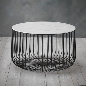 Enzo Large Marble Top Cage Coffee Table With Black Frame