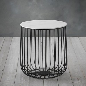 Enzo Small Marble Top Cage Coffee Table With Black Frame