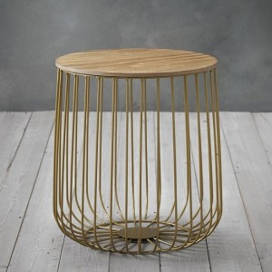 Enzo Small Marble Top Cage Coffee Table With Gold Frame