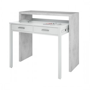Epping Pull Out Computer Desk In White And Concrete