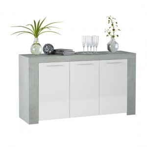 Epping Wooden Sideboard In White And Concrete With 3 Doors