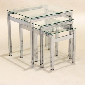 Epsom Clear Glass Nest Of Tables With Chrome Legs