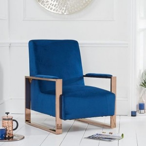Erica Blue Velvet Bedroom Chair With Rose Gold Metal Legs