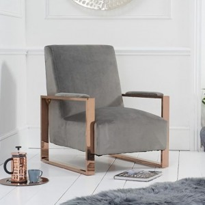 Erica Grey Velvet Bedroom Chair With Rose Gold Metal Legs