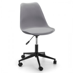 Erika Faux Leather Seat Home And Office Chair In Grey