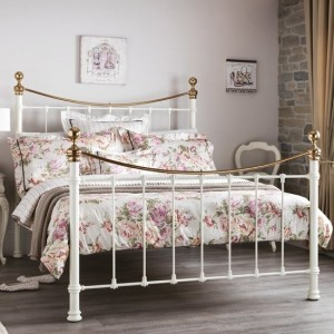 Ethan Metal Double Bed In Ivory Gloss And Brass