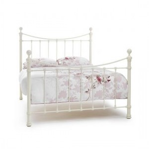 Ethan Metal King Size Bed In Ivory Gloss