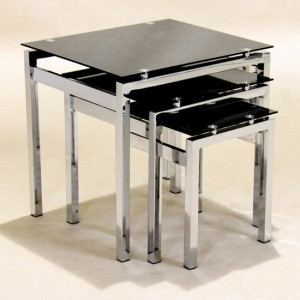 Eton Black Glass Nest Of Tables With Chrome Legs