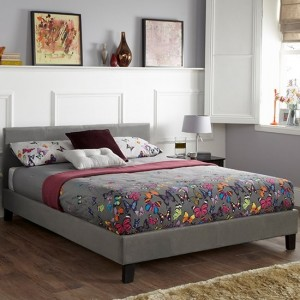 Evelyn Fabric Upholstered King Size Bed In Steel