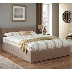 Evelyn Fabric Upholstered Storage Double Bed In Latte