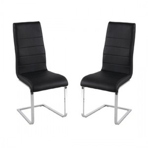 Evolve Black Faux Leather Dining Chairs In Pair