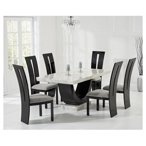 Memphis Marble Dining Table In Cream With 6 Arizona Grey Chairs