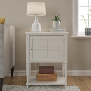 Fairmont Wooden 1 Door Side Table In Off-White