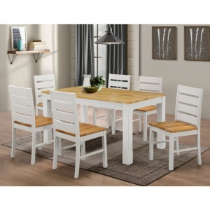 Fairmont Wooden Dining Set In Natural And White With 6 Chairs