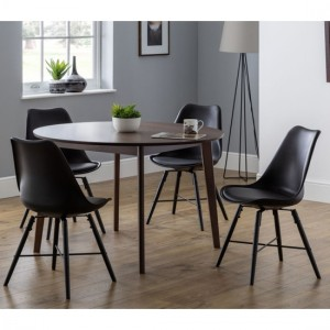 Farringdon Wooden Dining Table In Walnut With 4 Kari Black Chairs