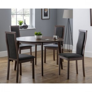 Farringdon Wooden Dining Table In Walnut With 4 Melrose Chairs