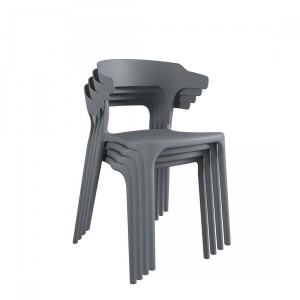 Novogratz Felix Stacking Dining Chairs Set Of 4 In Charcoal Grey