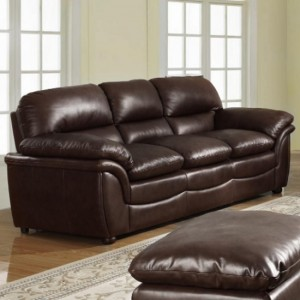 Fernando Bonded Leather 3 Seater Sofa In Brown