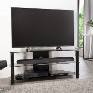 Whitney Glass TV Stand Large In Black With Glass Shelves