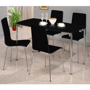 Fiji Rectangular Wooden Dining Set In Black High Gloss With 4 Chairs