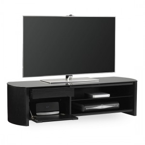 Finewoods Medium Wooden TV Stand In Black Oak With Black Glass
