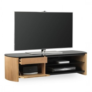 Finewoods Medium Wooden TV Stand In Light Oak With Black Glass