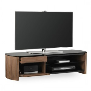 Finewoods Medium Wooden TV Stand In Walnut With Black Glass