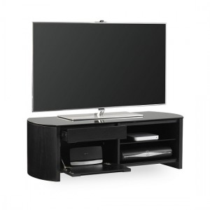 Finewoods Small Wooden TV Stand In Black Oak With Black Glass