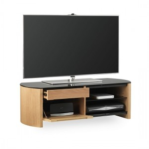 Finewoods Small Wooden TV Stand In Light Oak With Black Glass