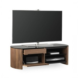 Finewoods Small Wooden TV Stand In Walnut With Black Glass