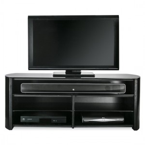 Finewoods Wooden TV Stand In Black Oak With Sound Bar Shelf