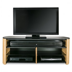Finewoods Wooden TV Stand In Light Oak With Sound Bar Shelf