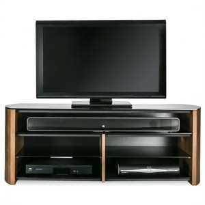Finewoods Wooden TV Stand In Walnut With Sound Bar Shelf