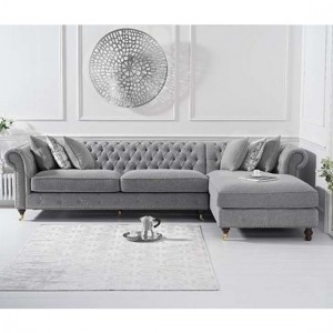 Fiona Chesterfield Linen Right Facing Chaise Corner Sofa In Grey