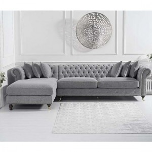 Fiona Chesterfield Linen Left Facing Chaise Corner Sofa In Grey