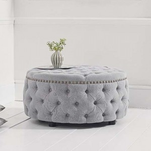 Fiona Round Linen Upholstered Footstool In Grey