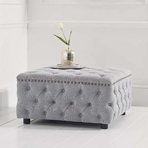 Fiona Square Linen Upholstered Footstool In Grey