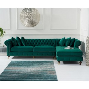 Hampton Chesterfield Right Corner Sofa In Green Velvet
