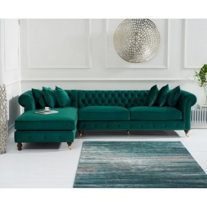 Hampton Chesterfield Left Corner Sofa In Green Velvet