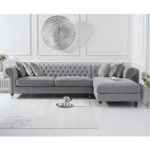 Hampton Chesterfield Right Corner Sofa In Grey Linen