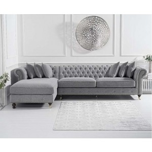 Hampton Chesterfield Left Corner Sofa In Grey Linen