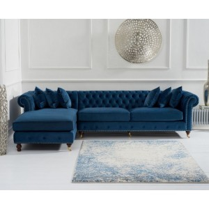 Hampton Chesterfield Left Corner Sofa In Blue Velvet