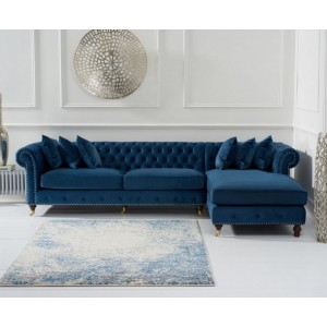 Hampton Chesterfield Right Corner Sofa In Blue Velvet