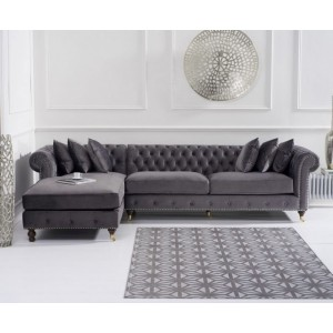 Hampton Chesterfield Left Corner Sofa In Grey Velvet