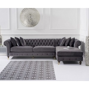 Hampton Chesterfield Right Corner Sofa In Grey Velvet