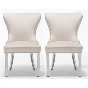 Florence Cream Button Back Velvet Dining Chair In Pair