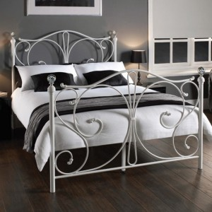 Florence Metal King Size Bed In White