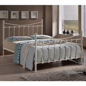 Florida Metal King Size Bed In Ivory
